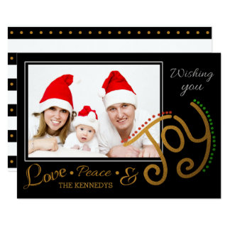 "Love Peace Joy Black And Gold Holiday Photo 5"" X 7"" Invitation Card"