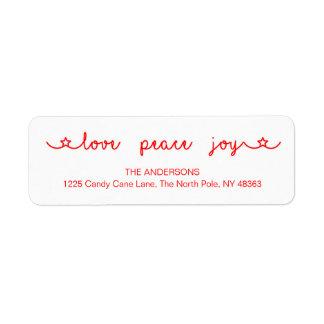 Love Peace Joy Christmas Return Address Labels
