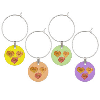 LOVE, PEACE, JOY Coloured Wine Charms