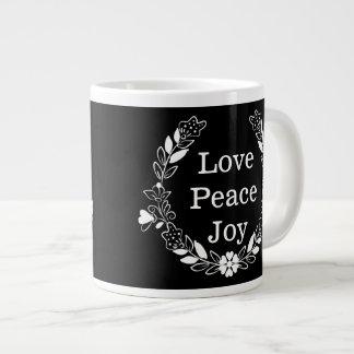 Love Peace Joy Floral Wreath Christmas Jumbo Mug