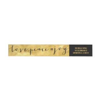 Love Peace Joy Gold Foil Holiday Address Label