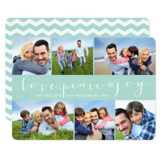 "Love Peace Joy Modern Holiday Photo Collage Card 5"" X 7"" Invitation Card"