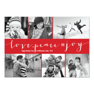 "Love Peace Joy Multi Grid Holiday Photo Greetings 5"" X 7"" Invitation Card"