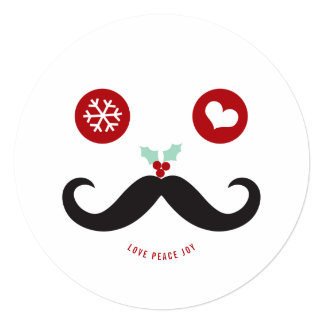 "Love Peace Joy Mustache Smiley Holiday Photo Card 5.25"" Square Invitation Card"