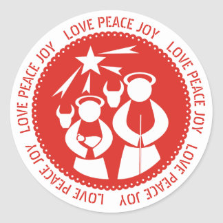 Love, Peace, Joy Nativity Scene red Christmas Classic Round Sticker
