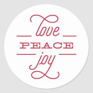 LOVE PEACE JOY to you Holiday Sticker