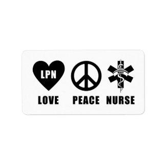Love Peace LPN Nurse Address Label