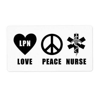 Love Peace LPN Nurse Shipping Label