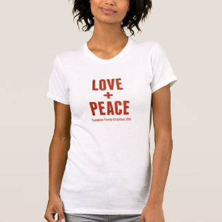 Love + Peace Modern Minimal Typography Holiday T-Shirt