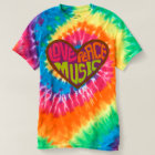 love peace music Hippie Heart tie dyed t-shirt