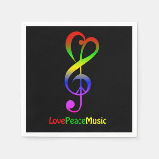 Love peace music hippie treble clef black disposable napkins