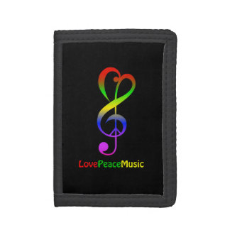 Love peace music hippie treble clef black trifold wallet