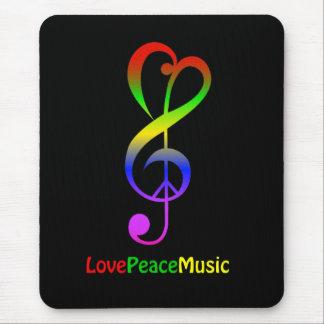 Love peace music hippie treble clef mouse pad