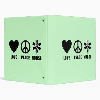 Love Peace Nurse 3 Ring Binders
