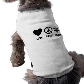 Love Peace Nurse Dog Shirt