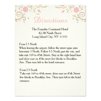 Love Peace Pink Floral Wedding Directions Card