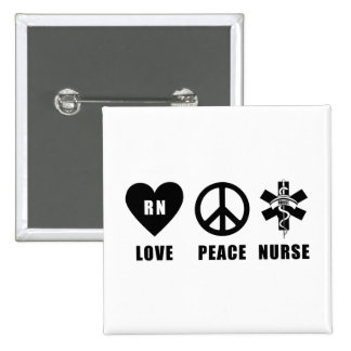Love Peace RN 2 Inch Square Button