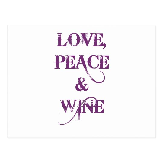 Love Peace Wine Postcard