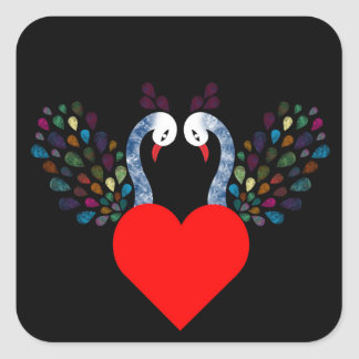 love pecock 3 square sticker