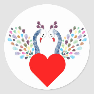 love pecock classic round sticker