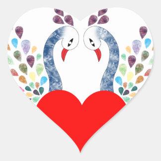 love pecock heart sticker