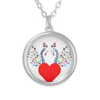 love pecock silver plated necklace