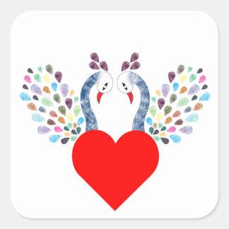 love pecock square sticker