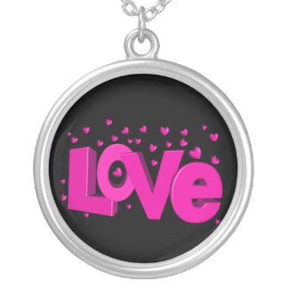 """""""Love"""" Pendant, Sterling silver Round Pendant Necklace"""