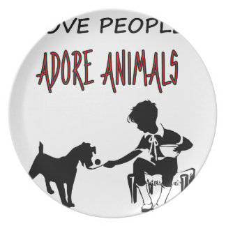 LOVE PEOPLE ADORES ANIMALS PLATE