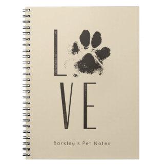 Love Pet Paw Print Brown Grunge Typography Notebook