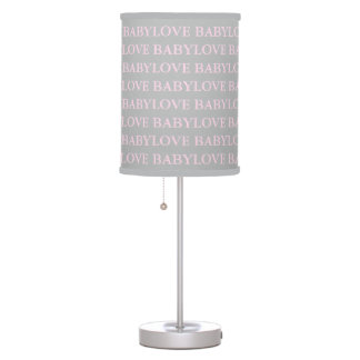 Love Pink and Gray Nursery Love Baby Lamp