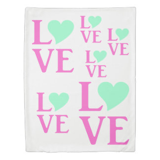 Love Pink And Mint Celebration Pink Duvet Cover