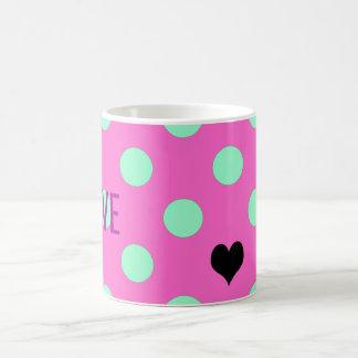 Love Pink And Mint Polka Dots Party Favor Mug