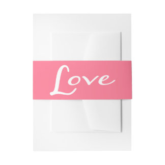 Love Pink And White Wedding Invitation Belly Band