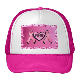 LOVE PINK CAMO AND PINK RIBBONS TRUCKER HAT