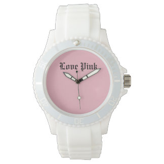 Love Pink Custom Sporty White Silicon Wrist Watches