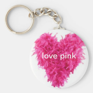 love pink feather boa keyring
