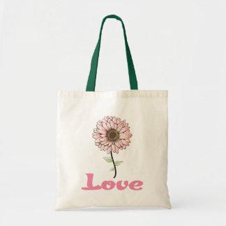 Love Pink Gerbera Daisy Flower Canvas Totebag