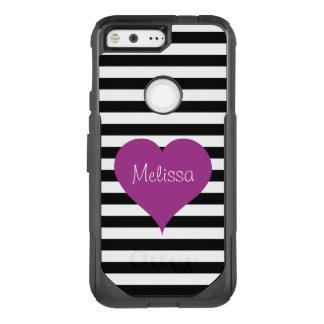 LOVE Pink Heart Black & White Stripes Pattern Name OtterBox Commuter Google Pixel Case