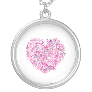 Love, Pink Heart Silver Plated Necklace