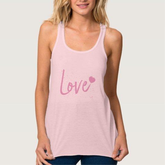 Love-Pink Heart Text Design Tank Top