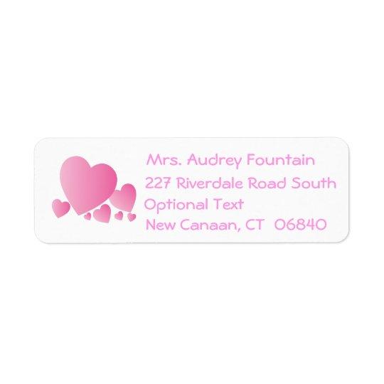 Love Pink Hearts Return Address Labels