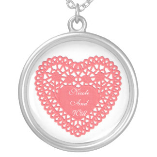 Love pink lace heart Necklace