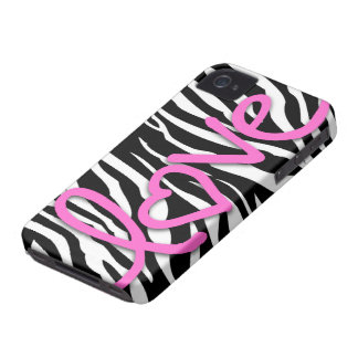 Love Pink on Black and White Zebra pattern Case-Mate iPhone 4 Cases