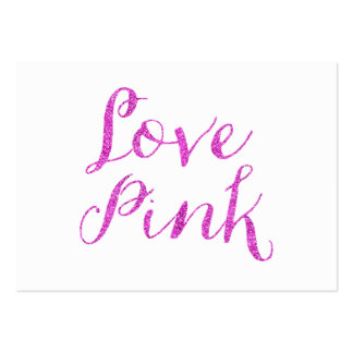 Love Pink Quote Faux Glitter Bling Metallic Sequin Pack Of Chubby Business Cards