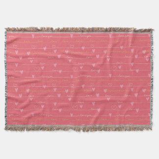 Love pink romantic throw blanket