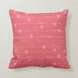 Love pink romantic throw pillow