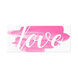 Love Pink Watercolor Smudge Canvas