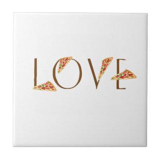 Love Pizza Fun Trendy Typography Tile