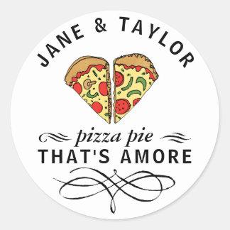 Love Pizza Personalized Classic Round Sticker